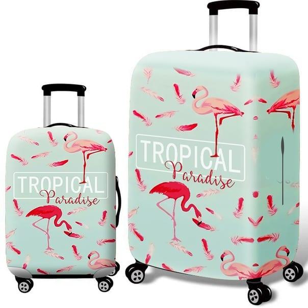 чехол на чемодан фламинго