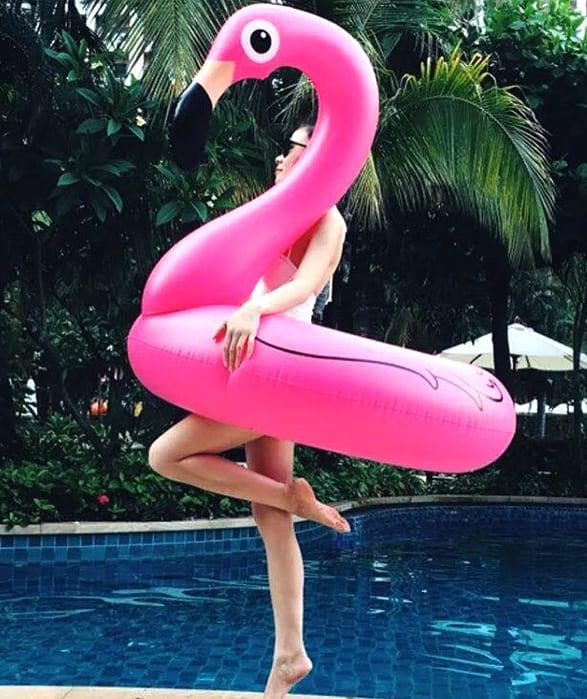 Круг розовый фламинго 120см